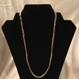 """Jewelry - 18kt Gold plated Box Link 21"""" Necklace Unisex"""